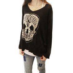 Little Hand Womens Embroidery Skeleton Skull Loose Bat Sleeve T-shirt, http://www.amazon.com/dp/B00EY7AN70/ref=cm_sw_r_pi_awdm_fIreub1PA9T1N