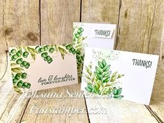 Forever Fern from Stampin Up - YouTube Card Making Tutorials, Ink Pads, Ferns, Note Cards, Greenery, Stampin Up, Paper Crafts, Place Card Holders, Easy Cards