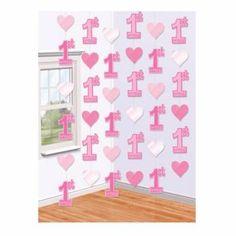 Hangdecoratie 1e Verjaardag Roze