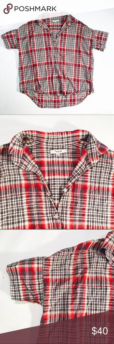 """💄 MADEWELL 💄 Ultra thin, plaid, oversized button down  CONDITION: EUC, needs to be steamed, no issues  CHEST: 47"""" WAIST: 44"""" LENGTH: 21.5""""-26"""" INSEAM: *All measurements taken while item is laid flat (doubled when necessary) and measured across the front  MATERIAL: cotton  STRETCH: no INSTAGRAM @ORNAMENTALSTONE 🚫Trading  🚫Modeling Madewell Tops"""