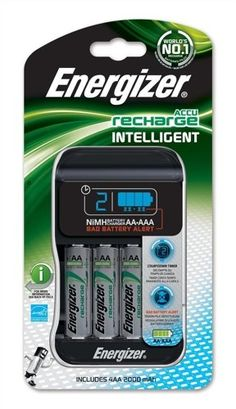 Energizer Intelligent AA/AAA Battery Charger UK Plus With 4AA 2000mah Rechargeable Batteries Energizer
