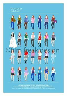 Mean Girls Minimalist movie poster, Lindsay Lohan as Cady Heron all looks fashion, light blue print wall art, Gift for her, Girly Art Print Mean Girls Costume, Mean Girls Outfits, Girl Costumes, Movie Outfits, Retro Outfits, Lindsay Lohan, Mean Girls Meme, Clueless Quotes, Fantasias Halloween