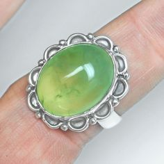 7.80 Gm 925 Sterling silver Natural Top Prehnite Rings 8 US High Quality Jewelry