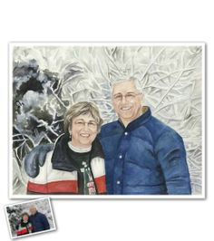 Hand Painted Watercolor from Photos - The snowcovered trees in the photo make the prefect backdrop.