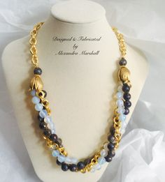 """Love this fabulous moonstone, labradorite, and 18K gold overlay necklace  by Alexandra Marshall. 18"""" - 22"""" long. #N2231. $197. Double click photo to order."""