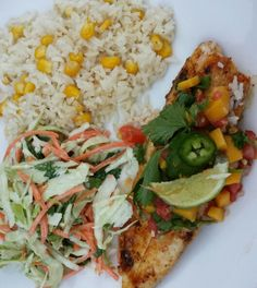 Cilantro lime coleslaw,  white rice with corn and tilapia with mango salsa  Tilapia is simple season paprika,  lemon pepper and garlic salt evoo on medium heat #mjfoodcuisine @mjfoodcuisine