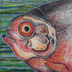 "Fish, 12"" x 12"", art quilt by Marie Livie"