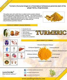 #Turmeric helps to reduce #cholesterol and prevent blood clotting. #Curcumin is a natural anti-inflammatory compound hat helps body to fight foreign invaders and also has a role in repairing damage. It dramatically increases the antioxidant capacity of the body. #Ayurveda www.sandhuproducts.com/Turmeric-60ct