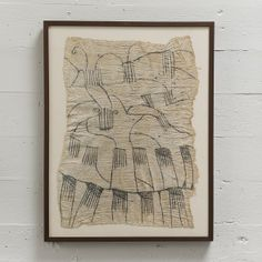 African Vintage Bark Cloth Drawings / Walnut Frame