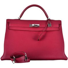RARE FIND HERMES KELLY BAG 40cm RESPBERRY RUBIS W PHW   From a collection of rare vintage handbags and purses at https://www.1stdibs.com/fashion/accessories/handbags-purses/