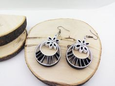 Quilling earrings B&W Ring Flowers Paper Quilling by IvonaJQ