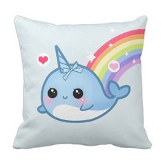 Cute child narwhal and rainbow throw pillow.  See even more by going to the photo link