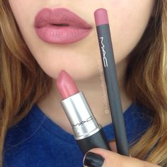 MAC Lipstick in Brave & MAC Lipliner in Soar.