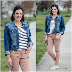 Blush jeans are a hot trend for spring 2016! Pair them with a striped tee and throw a jean jacket on top. Finish the look with Superga linen kicks!