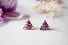 Real Dried Flowers and Resin Stud Earrings in Purple by AnnAndJoy