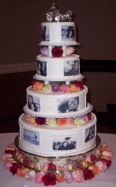 Not to keen on the actual design, but I LOVE the idea of having pictures on your cake! :)