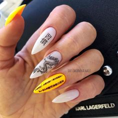 White and Yellow Chinese Dragon Acrylic Nails Model – louis vuitton nails acrylic Edgy Nails, Aycrlic Nails, Grunge Nails, Nail Manicure, Trendy Nails, Swag Nails, Manicures, Stylish Nails, Manicure Ideas