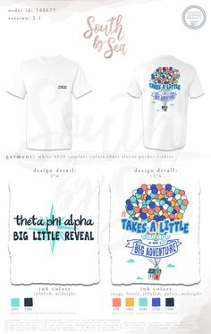 Theta Phi Alpha | Big Little Reveal | Takes a Little Courage to have a Big Adventure | Quotes | Up Theme | Balloons Theme | Sisterhood | South by Sea | Greek Tee Shirts | Greek Tank Tops | Custom Apparel Design | Custom Greek Apparel | Sorority Tee Shirts | Sorority Tanks | Sorority Shirt Designs