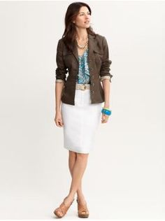 Banana Republic. Fashionable, yet professional. Cute blazer- note where it hits on her hips and how it comes in at the waist.