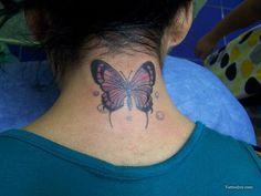 ed6f98c63bba3 Butterfly Tattoo Full Body Tattoo, Body Tattoos, Cute Tattoos, Butterfly  Neck Tattoo,
