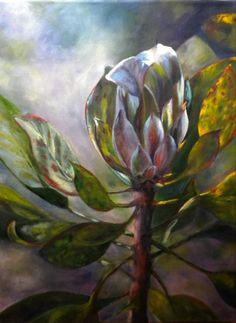 Protea, Oil on Canvas 12 x 16 by Tamara Wood Protea Art, Artichoke, Oil On Canvas, Flora, Crafty, Wood, Artist, Artworks, Paintings