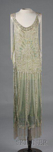 1920s Beaded Green Silk Net Lace Jerkin Dress, (with later under-dress), hips 37 in.