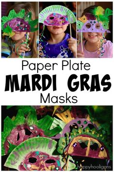 Paper Plate Mardi Gras Masks for Kids to Make - a fabulous, easy Fat Tuesday craft for kids of all ages - Happy Hooligans