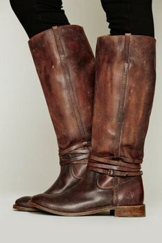 Frye Distressed Leather Long Boots