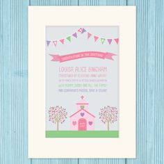 Personalised christening print gift, in pink or blue colour scheme.