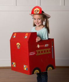 Image of Paper Box Rescue - Box Fire Engine Stickers Cardboard Box, Cardboard Design, Fireman Hat, Truck Stickers, Toddler Fun, Fun Activities For Kids, Fire Engine, Sticker Paper, Fire Trucks