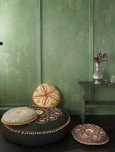 Moroccan floor pillow seats
