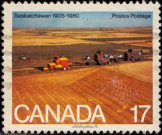 Canada.  Wheat Fields, Saskatchewan.  75th anniversary of Saskatchewan's and Alberta's creation as Provinces.  Scott  863 A417, Issued 1980 Aug. 27,  Litho.,  Perf. 13 1/2, 17c. /ldb.