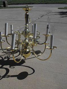 DIY Brass Chandelier Makeover - Remodelaholic | Remodelaholic