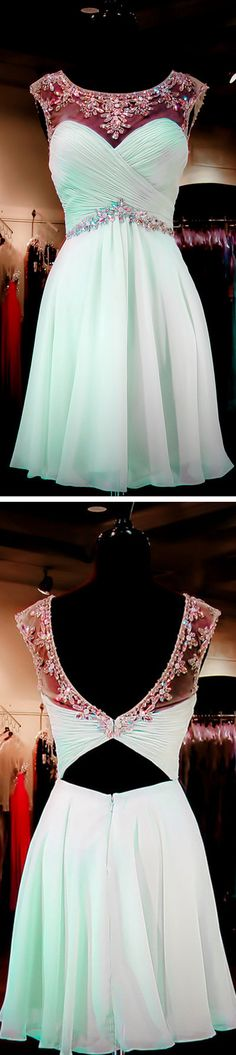 Mint Green Beaded Open back Sexy Backless Homecoming Dresses, Sweet 16 Cocktail Dresses The homecoming dress is fully lined, 4 bones in the bodice, chest pad in the bust, lace up back or zipper back a