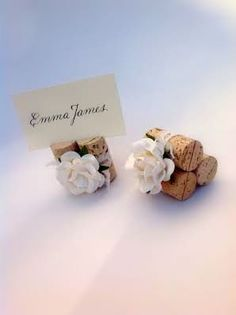 Wine Cork Place Card Holder With White Roses And Vintage Style Lace, Rustic…
