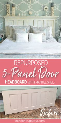 How to turn an old door into a gorgeous headboard with mantel ledge that has farmhouse charm plus detailed step-by-step tutorial. Diy Bed Headboard, Headboard From Old Door, Headboard Designs, Headboard Ideas, Panel Headboard, Old Door Headboards, Headboards For Beds Diy, Painted Wood Headboard, Old Door Bench