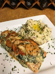 - Baked Salmon topped with Spinach and Shrimp - Garlic Butter Rosemary Mash Salmon Recipes, Seafood Recipes, Cooking Recipes, Seafood Dishes, Food Goals, Aesthetic Food, Food Cravings, I Love Food, Soul Food