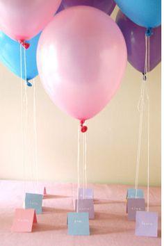 Balloon Escort Cards - Read more on One Fab Day: http://onefabday.com/wedding-balloon-ideas/