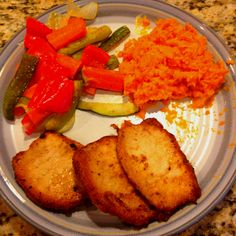 Fried pork chops, sweet potato, roasted veggies