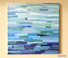 """Shades of Blue Paper Collage & Acrylic Painting on 12"""" x 12"""" canvas Mixed Media Art picture Ombre strips of Blue aqua teal and navy"""