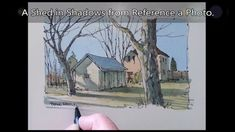 How to paint from a reference photo. Line and wash watercolor. Peter She. Watercolour Tutorials, Watercolor Techniques, Painting Tutorials, Watercolor Landscape Paintings, Pen And Watercolor, Peter Sheeler, Pen And Wash, Drawing Lessons, Art Lessons
