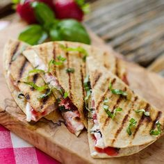 Strawberry Basil & Honey Goat Cheese Quesadillas are filled with sweet honey goat cheese, sliced strawberries and fresh basil.