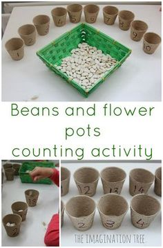 Flower Pots Counting Activity Simple beans and seeds, counting/sorting activity. Would also work well with egg cartons!Simple beans and seeds, counting/sorting activity. Would also work well with egg cartons! Preschool Math Games, Eyfs Activities, Spring Activities, Kindergarten Math, Maths Eyfs, Eyfs Classroom, Nursery Activities, Early Years Maths, Early Math