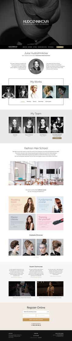 Good imagery in this Landing Page for 'Hudozhnikova Fashion Hair School' founded by stylist and hairdresser, Julia Hudozhnikova. Really love that intro Hero image choice. The One Page website features Fancybox for bigger image previews and slide-in Modals for additional course information.