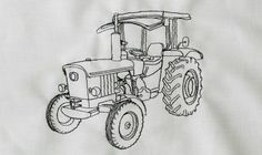 Traktor Stickdatei auf Gabrielles Embroidery