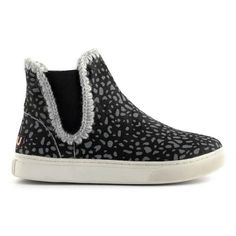 Mou chelsea with crochet stitch detail Grey Cheetah Pony/Sage - MOU #mou #eskimo #snerker #shoes #fashion
