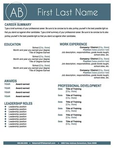 RESUME TEACHER Template For MS Word | + Educator Resume Writing ...