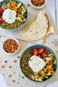 Apples and Sparkle: Middle Eastern Grilled Vegetable & Lentil Bowls with Falafel-Spiced Roasted Chickpeas & Tahini-Yogurt Sauce