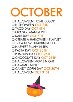 Fall Seasonal Living - October To Do List Life Planner, Happy Planner, Herbst Bucket List, Monthly Celebration, Bujo, Life List, Holidays Halloween, Halloween Halloween, Vintage Halloween