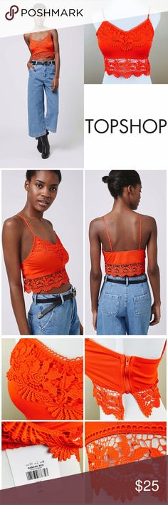 NWT Orange Crochet Trim Crop/Bralette Look to pretty crochet detailing to update the classic bralet for now. Cut in a simple shape, it features super skinny straps and is finished with a intricate crochet detailing to the bust and hem. Style it with high waisted trousers for a trending feel. Zipper on side. 96% Cotton, 4% Elastane. Machine wash. Size 2. Bust 31-32. New with tags. Topshop Tops Crop Tops